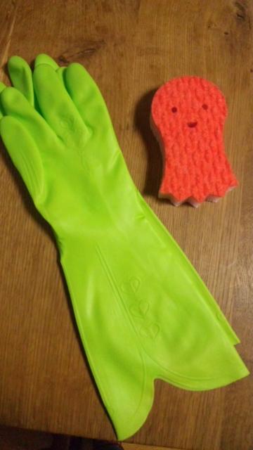 真っ赤なタコさんと緑の手袋